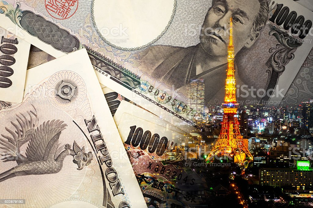 Double exposure of TOKYO TOWER , note bank , stock photo