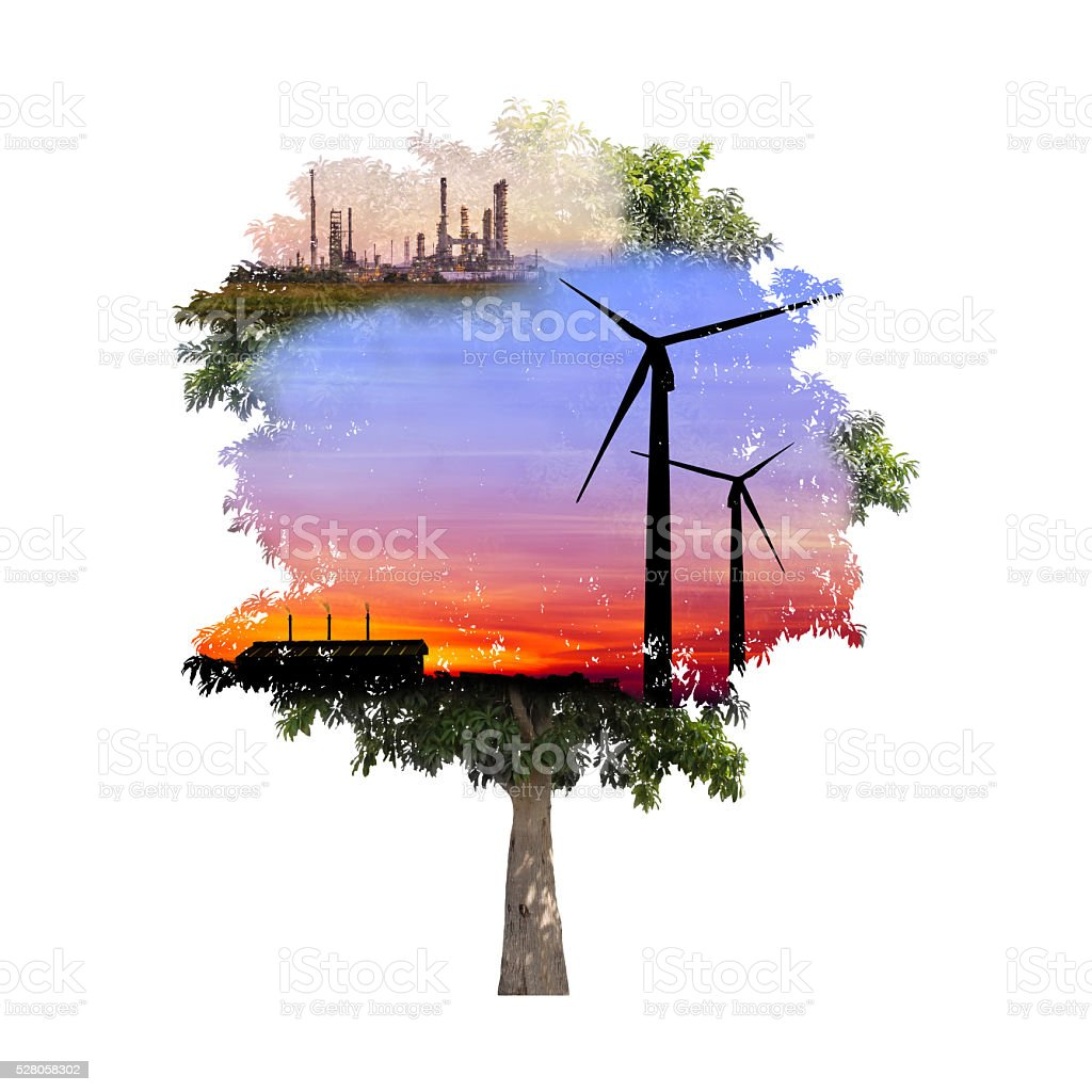 double exposure of tree used for carbon credits concept stock photo