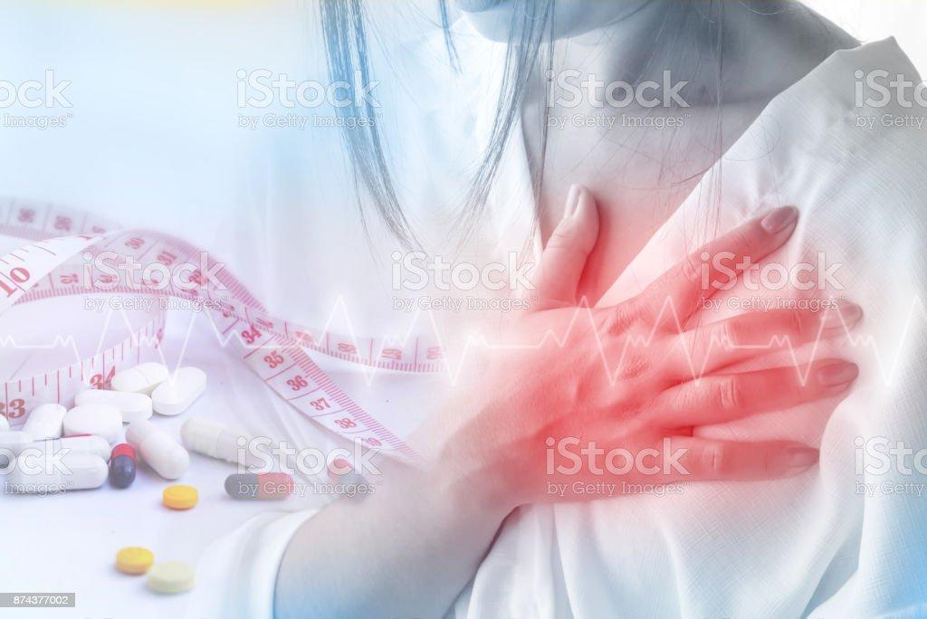 Doppelbelichtung Frau mit Herzinfarkt wegen der über Dosis-Diät-Pille – Foto