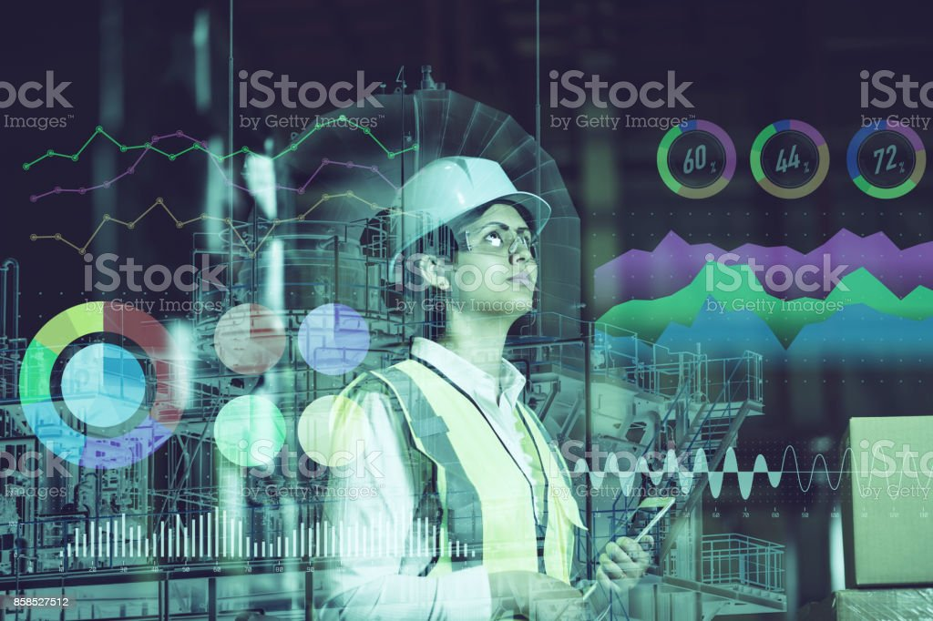 double exposure of woman labor and factory exterior. industrial technology concept. double exposure of woman labor and factory exterior. industrial technology concept. Abstract Stock Photo