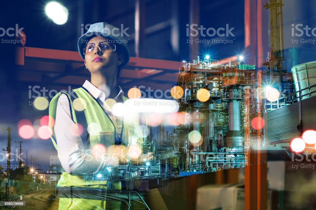 double exposure of woman labor and factory exterior. industrial technology concept. foto stock royalty-free