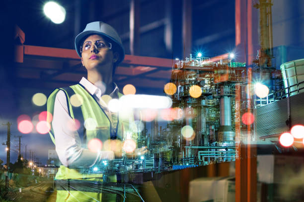 double exposure of woman labor and factory exterior. industrial technology concept. stock photo