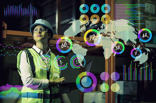 Double Exposure Of Woman Labor And Factory Exterior Industrial Technology Concept Stock Photo - Download Image Now