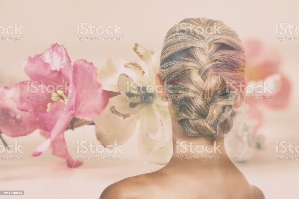Phenomenal Double Exposure Of Woman With Beautiful Braided Hairdo And Flowers Natural Hairstyles Runnerswayorg