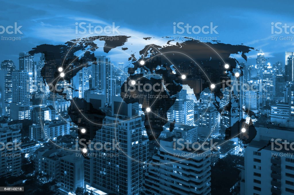 Double exposure of world map connecting and blurred cityscape of business centre , Technology and network connection concept , world map element of this image furnished by NASA stock photo