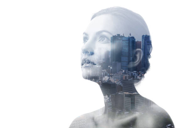 Double exposure of young woman and building exterior. stock photo