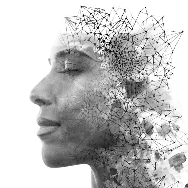 Double exposure. Paintography. Close up portrait of an attractive woman with strong ethnic features combined with unusual hand drawn painting, black and white stock photo