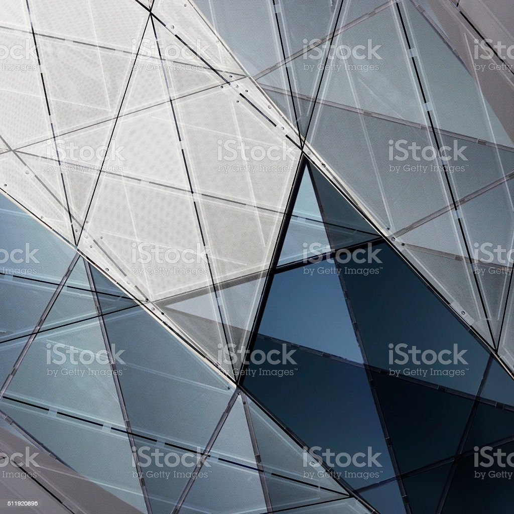 Double Exposure Photo Of Facade With Opaque Rhombusshaped