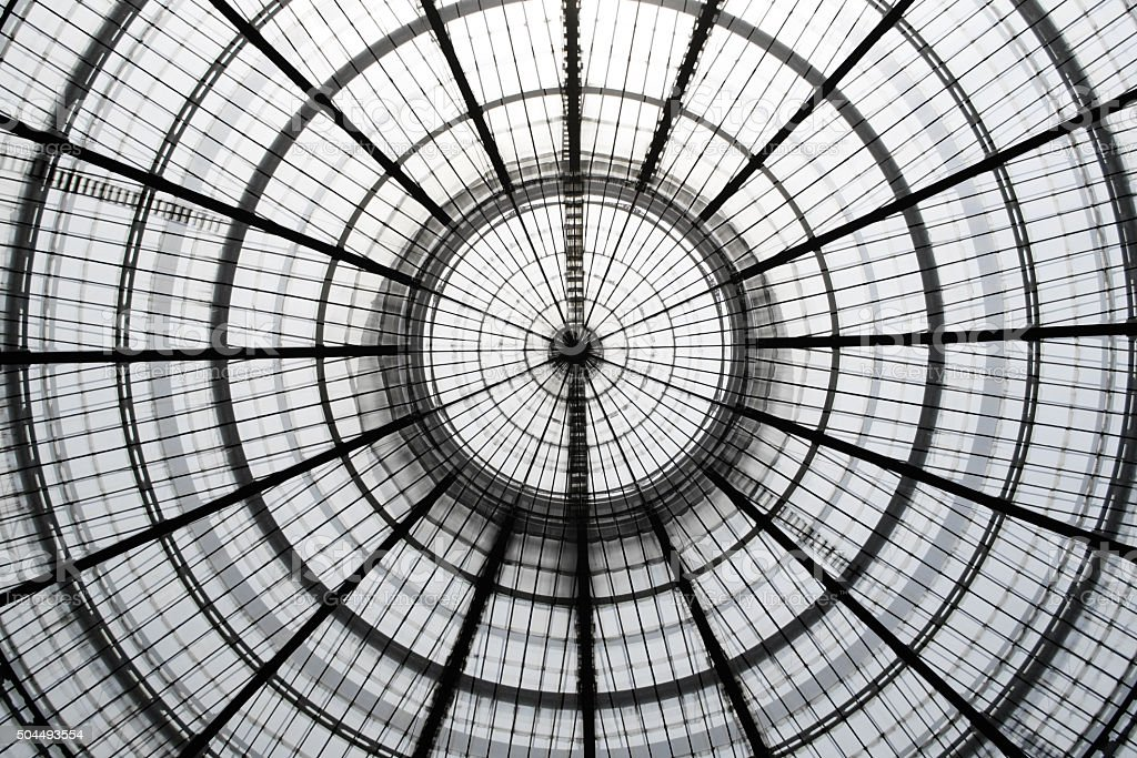 Double exposure photo of glass ceiling at two different zooms stock photo