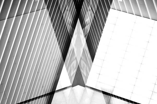 double exposure photo of sloped ceiling with louvered structure - dachschräge einrichten stock-fotos und bilder