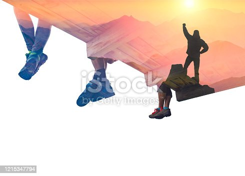 867295412 istock photo Double exposure photography with hiker on a cliff 1215347794
