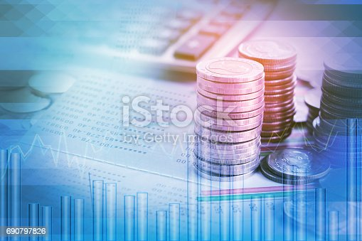istock double exposure pile of coins,financial graph,stock chart, account book 690797826
