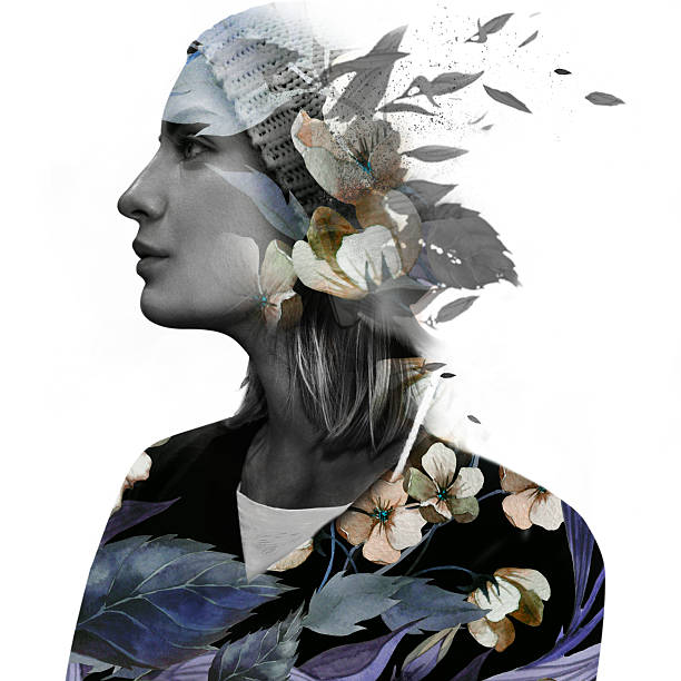 Double exposure portrait of a dreamy woman stock photo