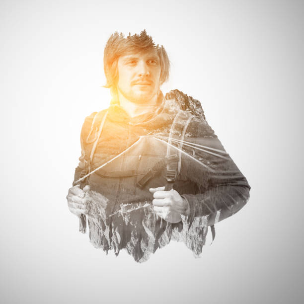 Double exposure portrait of a male traveler. stock photo