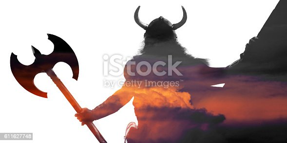 istock Double exposure portrait of a strong viking 611627748