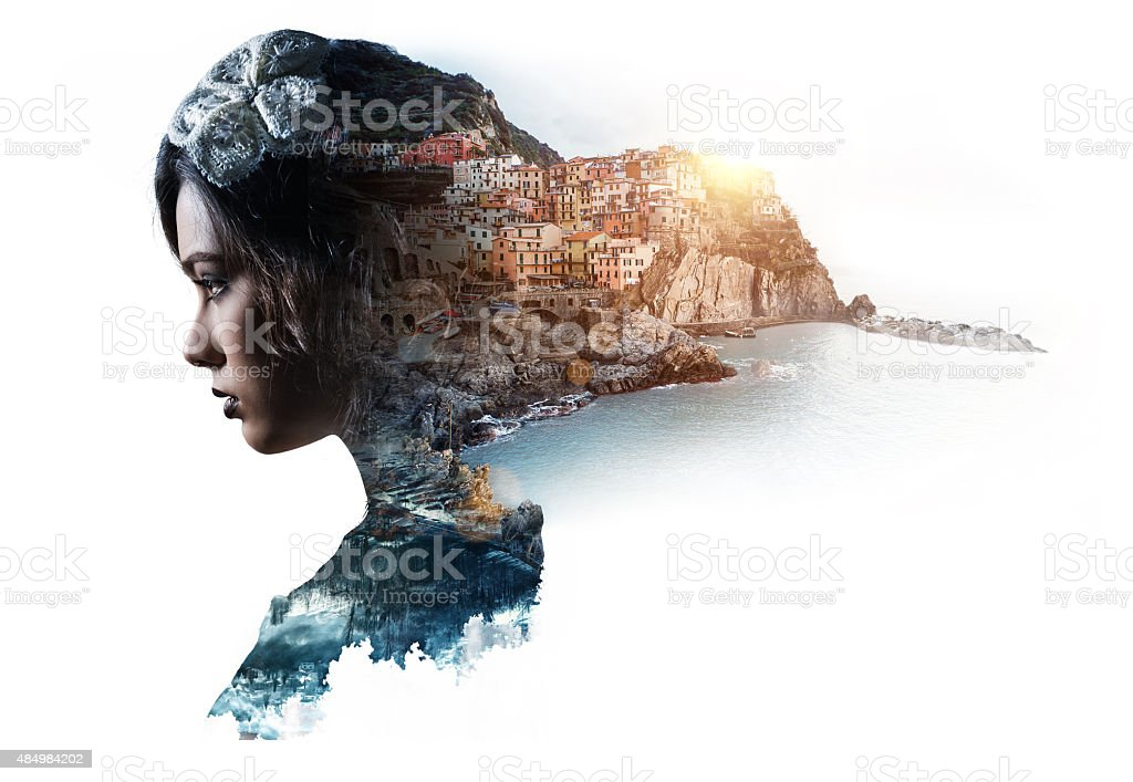 Double exposure portrait of a woman and view of Manarola stock photo