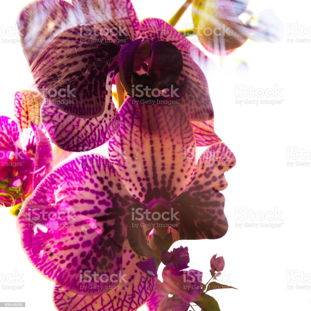 Double exposure portrait of a young sexy girl with flawless skin combined with radiantly bright pink orchid flower petals, shot in a natural peaceful setting stock photo