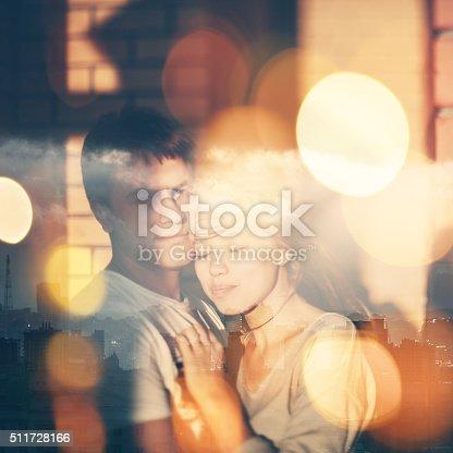 istock Double Exposure Portrait of Loving Couple 511728166
