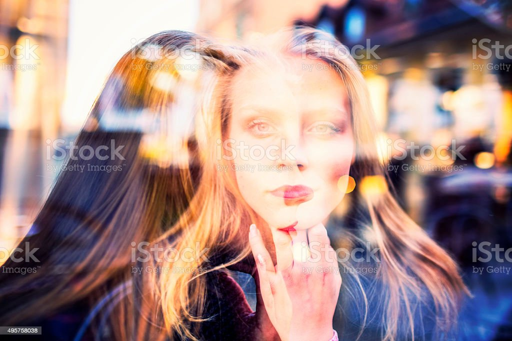 Double exposure portrait of two young women stock photo