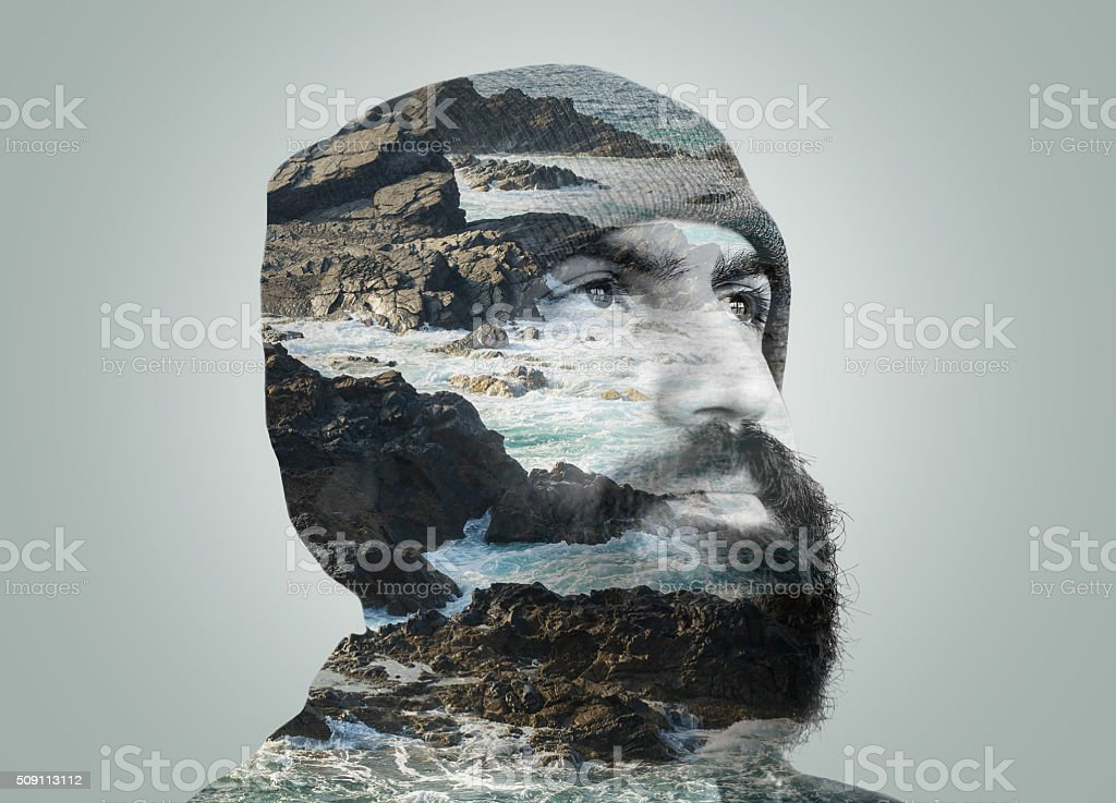 Double exposure portrait stock photo