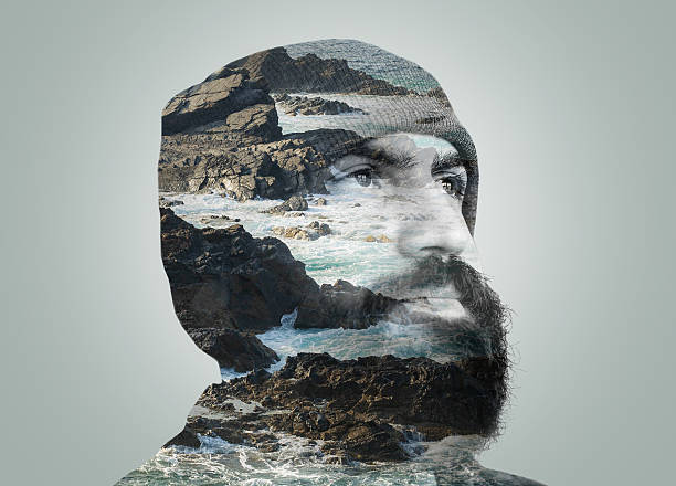 double exposure portrait - vintage nature stock photos and pictures