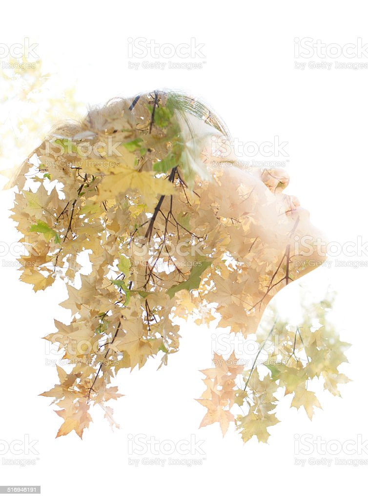 Double exposure portrait. stock photo