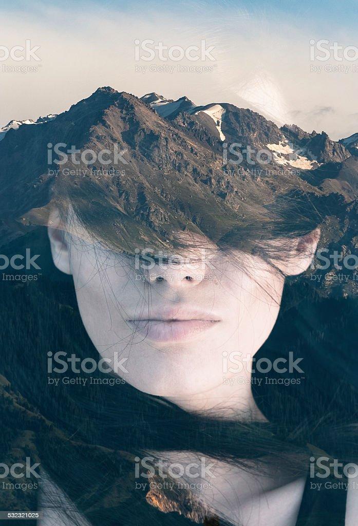 Double exposure portrait stock photo