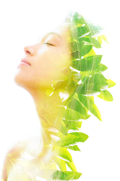 Double exposure profile portrait of a beautiful happy exotic woman and bright green tropical leaves stock photo