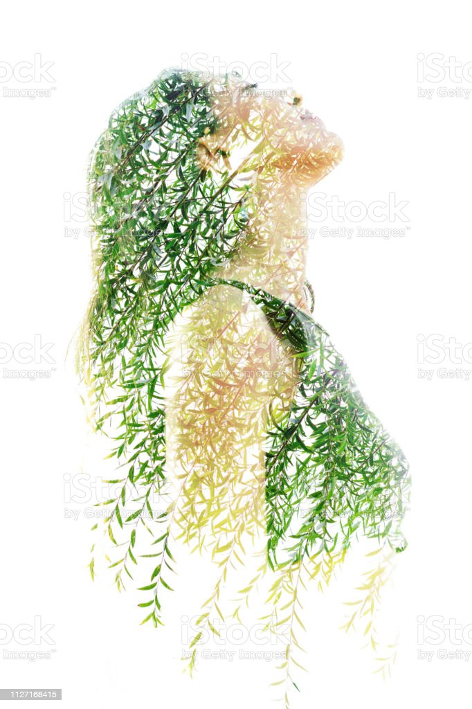 Double exposure profile portrait of a naturally beautiful happy woman and a tree with bright green leaves stock photo