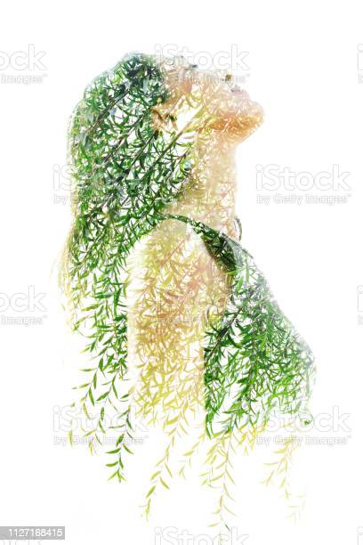 Photo of Double exposure profile portrait of a naturally beautiful happy woman and a tree with bright green leaves
