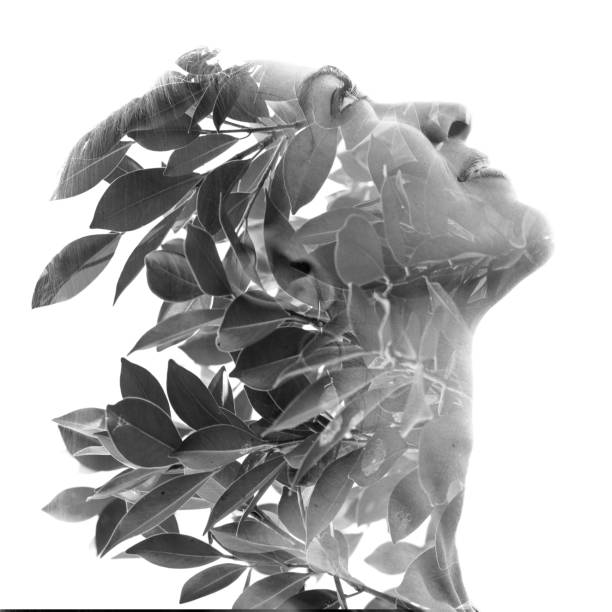 Double exposure profile portrait of a naturally beautiful woman and tropical leaves, black and white She finds perfect unity with nature multiple exposure stock pictures, royalty-free photos & images