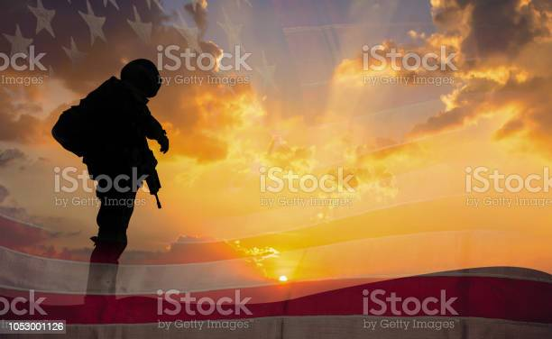 Double exposure silhouette of soldier on the united states flag in picture id1053001126?b=1&k=6&m=1053001126&s=612x612&h=o4uabs1nd8eilish6cgucn6mx05c3elq2djqwdzw4zi=