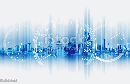 istock Double exposure Speedometer with Futuristic Speed Motion Background 831515076