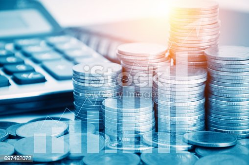 istock Double exposure stock financial indices on currency exchange 697462072