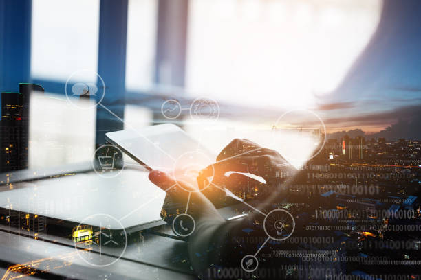 double exposure telecommunication device network - laptop digital composite stock photos and pictures