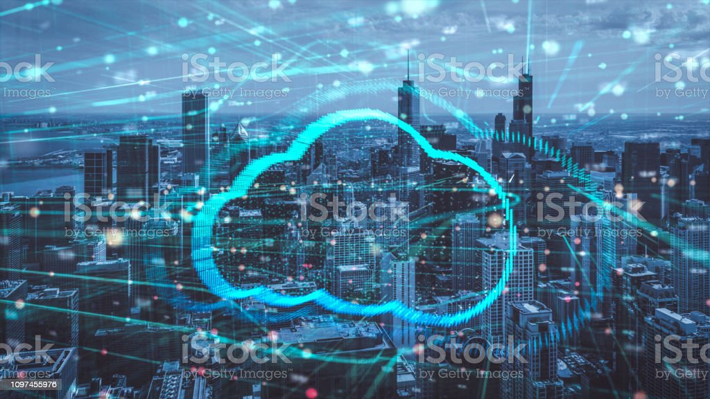 Double exposure the Chicago cityscape and clouds technology,Futuristic computer digital Abstract  background stock photo