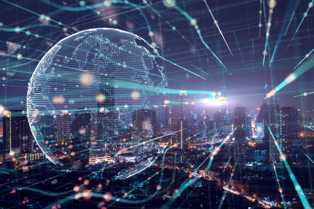 Doble exposición de la ciudad y la tecnología de las nubes, ordenador futurista digital fondo abstracto. Concepto de Big Data - foto de stock
