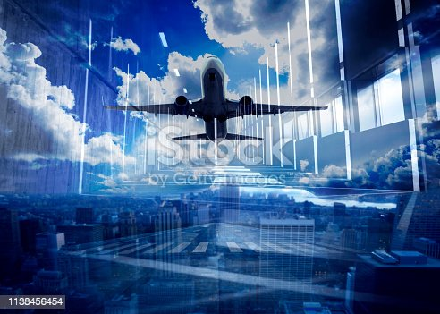 864534880 istock photo Double Exposure USA & Passenger airplane taking off 1138456454