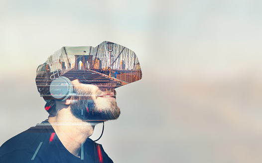 istock Double Exposure Virtual Reality 1091369614