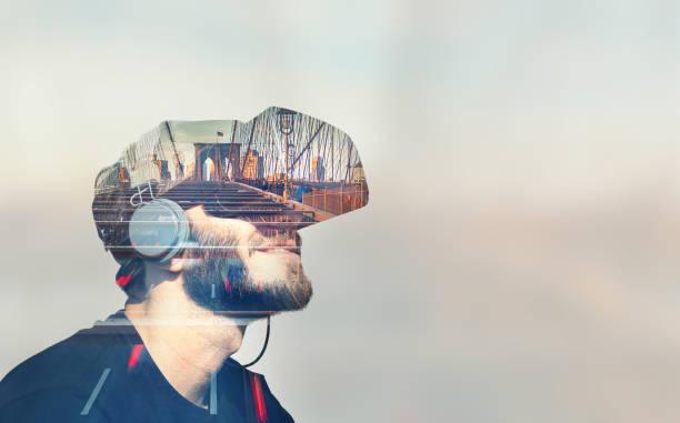 doble exposición de realidad virtual - 360 fotografías e imágenes de stock