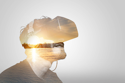 istock Double Exposure Virtual Reality 620700834