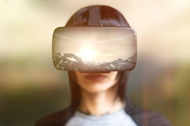 double exposure virtual reality - ritratto 360 gradi foto e immagini stock