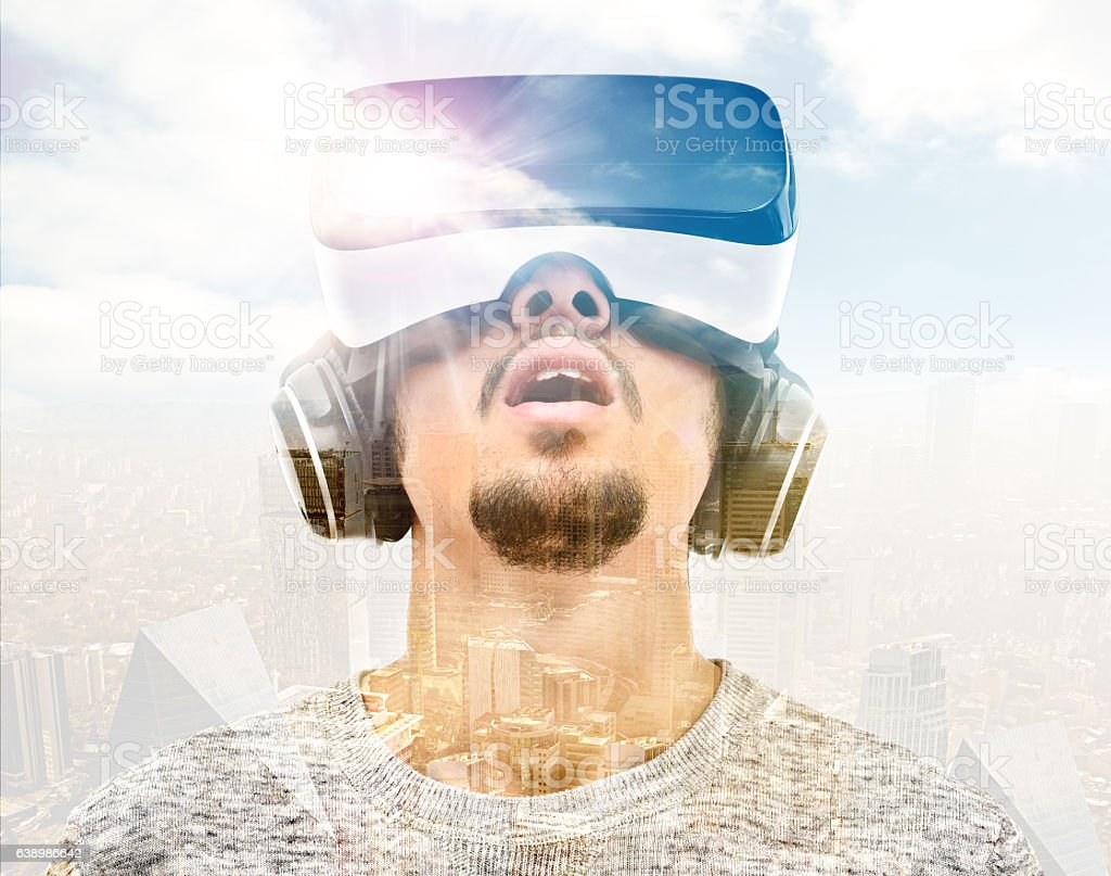 Double exposure vr headset stock photo