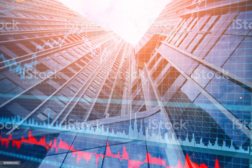 double exposure with city building with stock market financail chart  business ideas concept stock photo