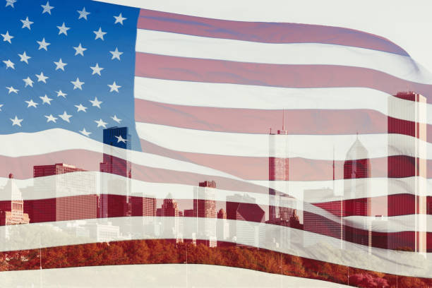 미국 국기와 미국 일리노이 주 시카고의 고층 빌딩으로 이중 노출. 개념 - double exposure 뉴스 사진 이미지