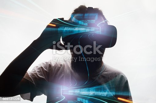 istock Double exposure  with virtual glasses 669131226