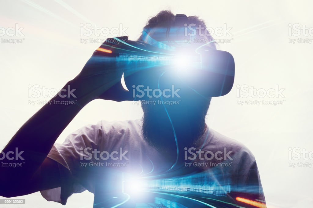 Double Exposure with Virtual Reality stock photo