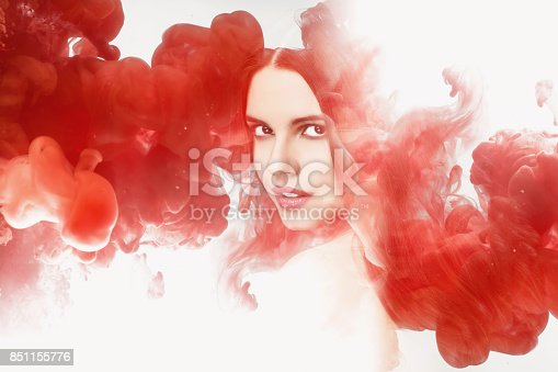istock Double exposure woman and ink. 851155776