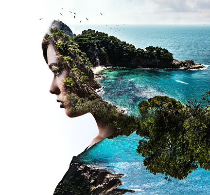 Double exposure. Woman and nature