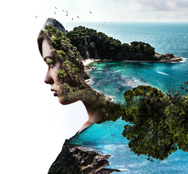 Double exposure. Woman and nature - foto stock